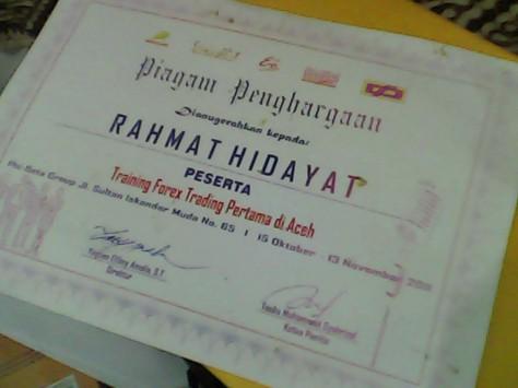 Sertifikat Training Forex Pertama di Aceh.